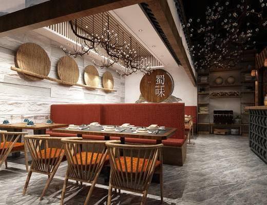 餐桌, 餐具组合, 卡座, 吊灯, 墙饰, 前台