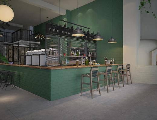 酒吧, 吧台, 吧椅, 单人椅, 吊灯, 酒架, 盆栽, 绿植, 植物, 工业风