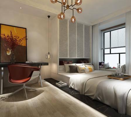 休闲椅, 书桌, 双人床, 灯具, 衣柜, 挂画