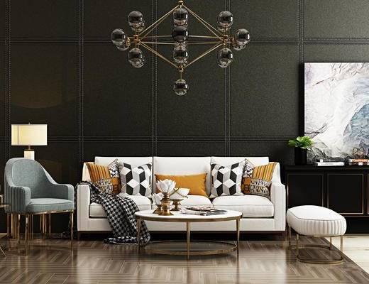 现代, 沙发组合, 吊灯, 绿植, 装饰画