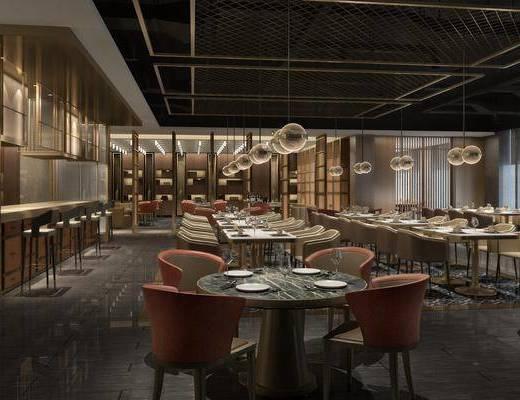 新中式餐厅, 餐桌, 沙发椅, 摆件, 吊灯, 新中式