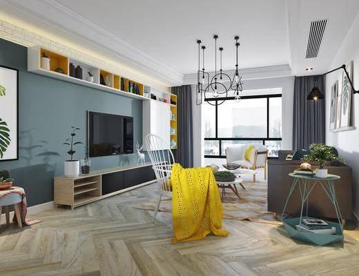 客厅, 多人沙发, 边几, 壁灯, 茶几, 单人沙发, 单人椅, 电视柜, 边柜, 植物画, 吊灯, 北欧