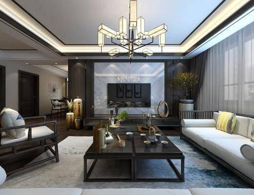 新中式客厅, 中式客厅, 新中式沙发, 中式沙发, 沙发组合, 沙发茶几组合