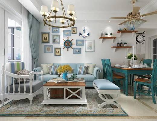 客餐厅, 地中海, 客厅, 餐厅, 沙发, 吊灯, 装饰品, 挂画