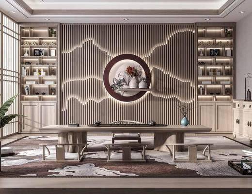 茶桌, 柜子, 背景墙, 墙饰, 边柜, 茶具组合