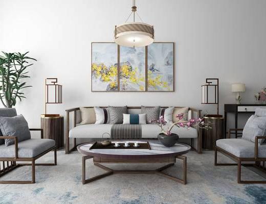 新中式, 吊灯, 沙发, 茶几, 茶具, 摆件, 台灯, 挂画, 盆栽