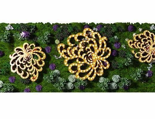 现代, 植物墙, 装饰圈, 装饰灯, 植物, 绿植