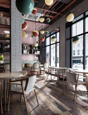工业风咖餐厅, 工业风, 咖啡厅, 休闲椅, 桌椅, 工业风吊灯