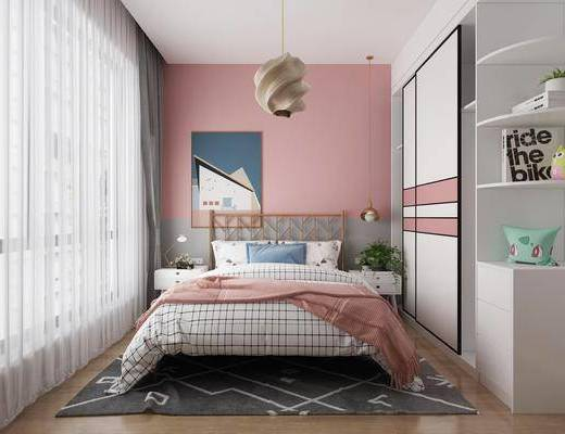 北歐臥室, 臥室, 女孩房, 雙人床