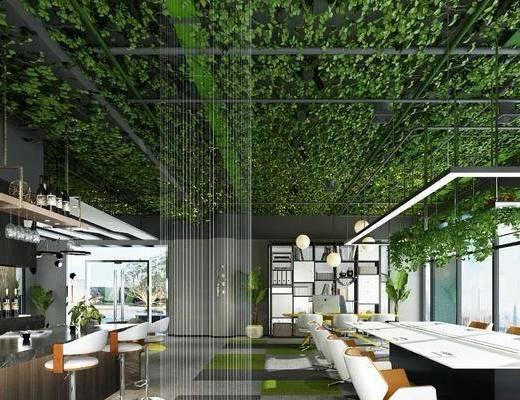 辦公區, 沙發組合, 茶幾, 綠植吊頂, 吧臺, 單椅, 吊燈