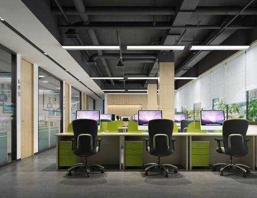 办公区, 现代办公区, 办公桌, 单椅