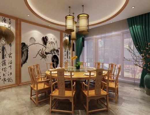 餐厅, 中式餐厅, 餐桌椅, 桌椅组合, 吊灯