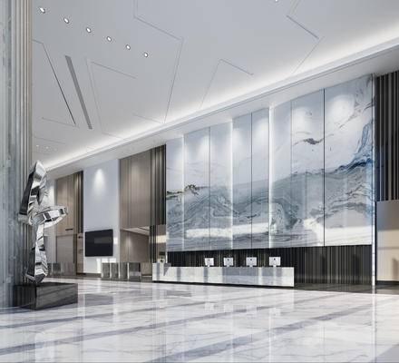 商场大厅, 电梯间, 背景墙, 接待区, 装饰品