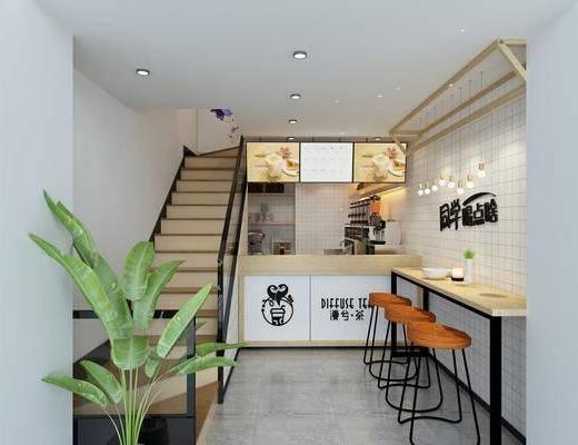 漫茶兮, 奶茶店, 桌椅组合, 吧台椅组合, 前台接待, 门面门头, 吊灯组合, 北欧