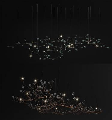 现代树枝水晶灯, 吊灯