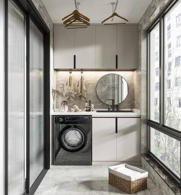 阳台, 露台, 洗衣机, 浴柜, 镜子