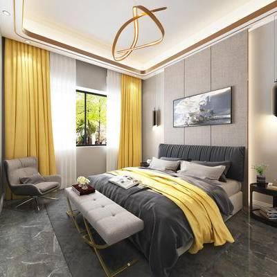 现代, 北欧, 主卧, 卧室, 现代卧室, 床, 布艺床