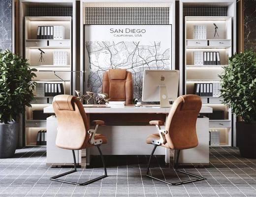 现代办公室, 办公室, 办公区, 书桌椅