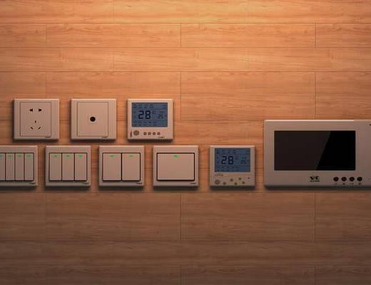 电源插座, 电源开关, 插座, 开关, 面板, 构件