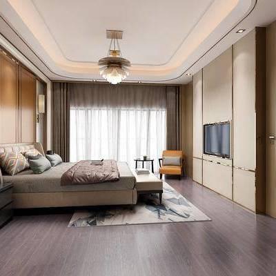 现代卧室, 现代, 卧室, 吊灯, 床, 床头柜, 边柜