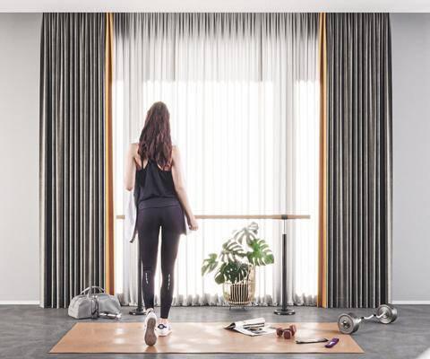 哑铃, 瑜伽, 窗帘, 布艺窗帘, 运动器械