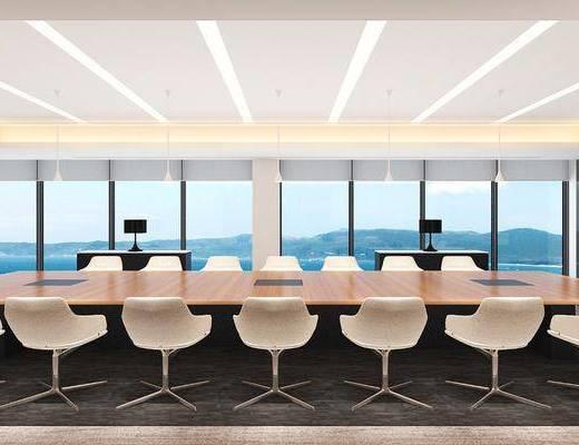 会议室, 会议桌, 单人椅, 台灯, 现代