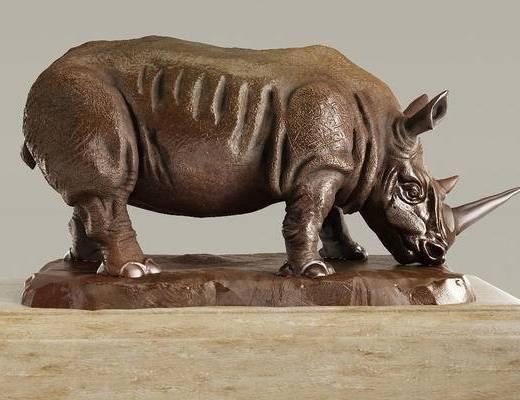 犀牛, 雕塑, 现代犀牛雕塑, 现代, 动物雕塑