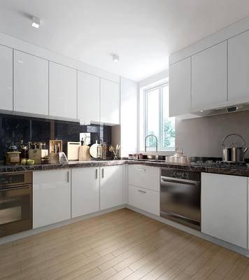 现代, 厨房, 橱柜, 厨具, 餐具, 刀, 叉, 热水壶