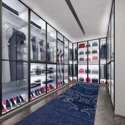 衣帽间, 衣柜, 衣服, 手提包, 高跟鞋, 现代