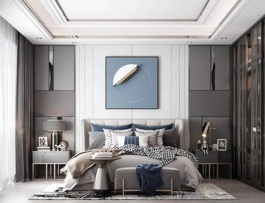 双人床, 装饰画, 茶几, 抱枕, 衣柜, 地毯, 台灯