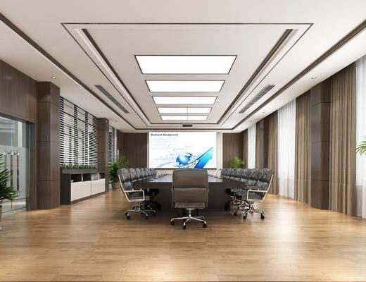 会议室, 现代会议室, 桌椅组合, 投影