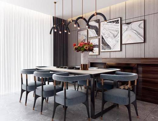 现代餐厅, 餐桌椅, 桌椅组合
