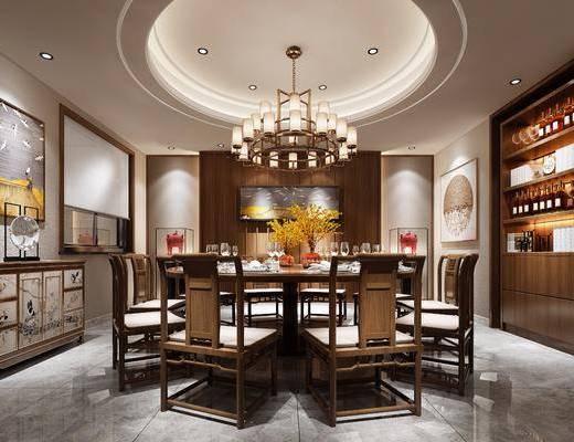 新中式餐厅, 新中式, 餐厅, 中式椅子, 餐桌椅, 中式装饰柜