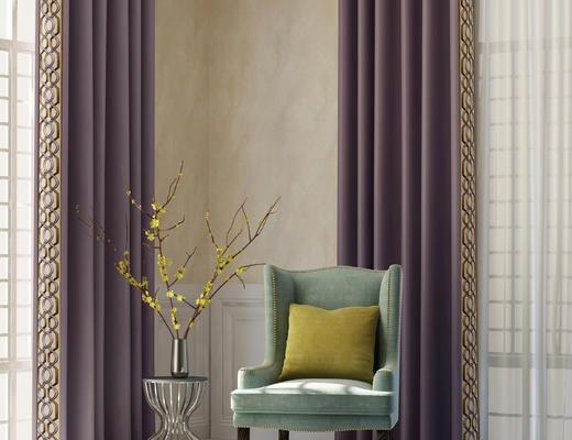 椅子, 花瓶, 单椅, 窗帘, 地毯, 角几