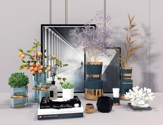 装饰品, 装饰画, 盆栽植物, 书籍