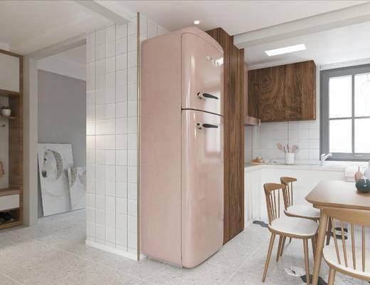 厨房, 餐厅, 北欧, 现代, 餐桌椅, 桌椅组合, 冰箱, 橱柜