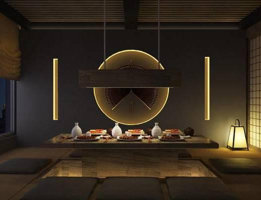 日式, 料理店, 暗黑, 单体, 场景, 居酒屋, 背景墙, 麻绳, 卡座, 吧台