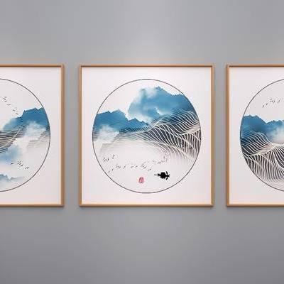 中式挂画, 中式山水画, 中式水墨画, 中式抽象画, 新中式挂画