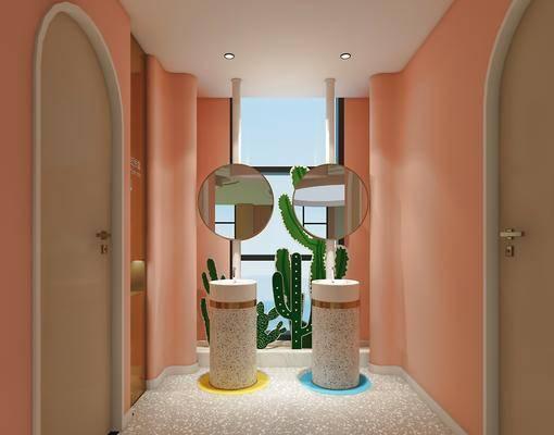 洗手间, 镜子, 植物