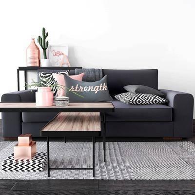 沙发茶几, 多人沙发, 茶几, 盆栽, 摆件, 抱枕, 现代