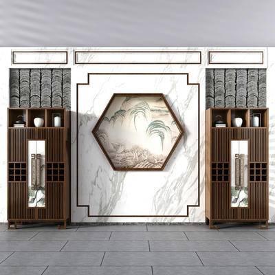新中式酒柜, 中式酒柜, 酒柜, 挂画, 摆件