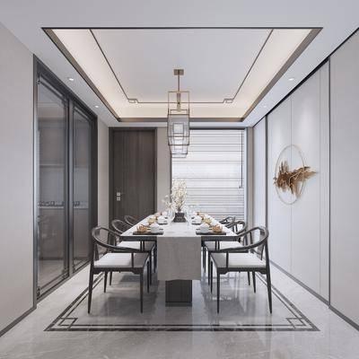吊灯, 墙饰, 餐厅, 桌椅组合