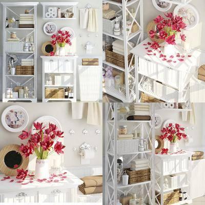 卫浴柜架, 毛巾沐浴, 沐浴用品, 用品组合, 花瓶花卉, 人物画, 现代