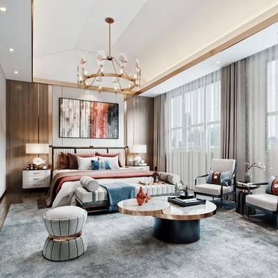 双人床, 床尾踏, 茶几, 边柜, 摆件组合, 墙饰