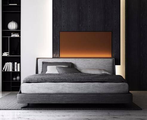 双人床, 装饰柜, 单人沙发, 摆件, 现代