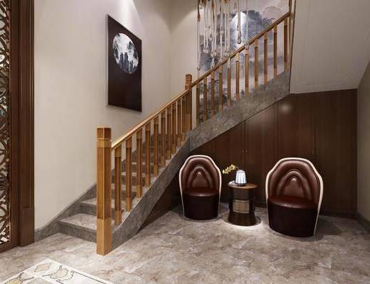 ?#30340;?#27004;梯, 楼梯栏杆, 单人沙发, 边几, 装饰画, 吊灯, 中式