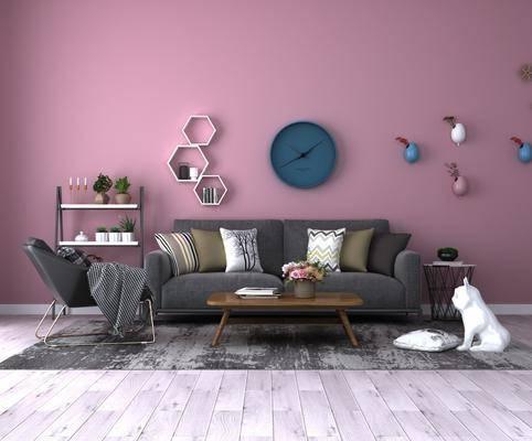 沙发组合, 北欧沙发组合, 茶几, 墙饰, 置物架, 单椅, 边几, 北欧