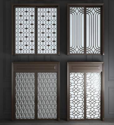 双开门, 实木双开门, 新中式实木双开门3d模型