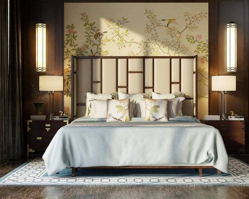 中式, 壁灯, 台灯, 床, 床头柜