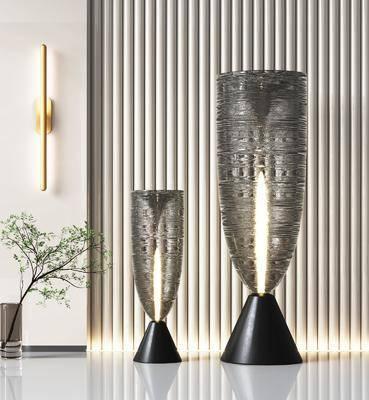 现代玻璃灯, 现代落地灯